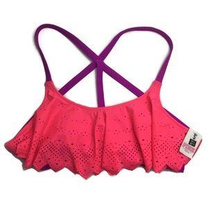 NWT VS PINK Flounce Lasercut Caged Back Bikini Top